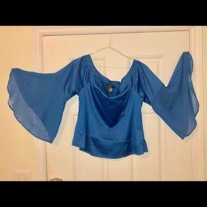 Off Shoulder Blouse w/Sheer Bell Sleeve